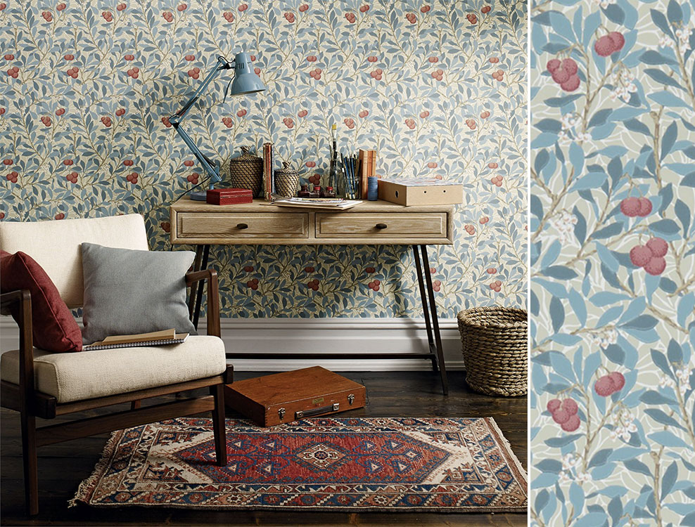 Papier peint Arbutus, Collection The Craftsman Wallpapers de Morris & Co, Au fil des Couleurs