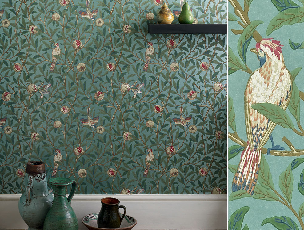 Papier peint Birds and Pomegranate, Collection The Craftsman Wallpapers de Morris & Co, Au fil des Couleurs
