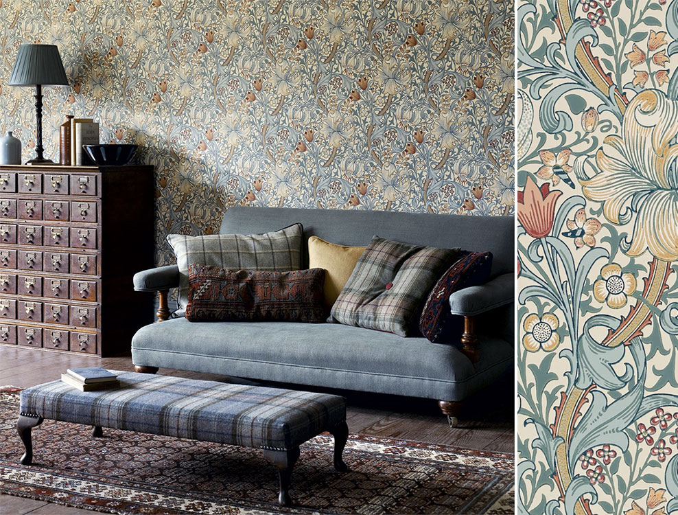 Papier peint Golden Lily, Collection The Craftsman Wallpapers de Morris & Co Au fil des Couleurs