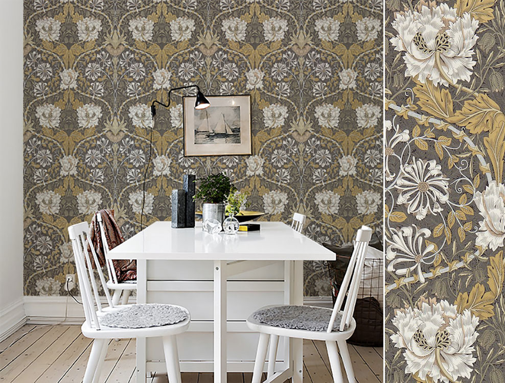 Papier peint Honeysuckle et Tulip, Collection The Craftsman Wallpapers de Morris & Co, Au fil des Couleurs