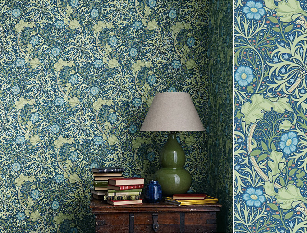 Papier peint Morris Seaweed, Collection The Craftsman Wallpapers de Morris & Co, Au fil des Couleurs