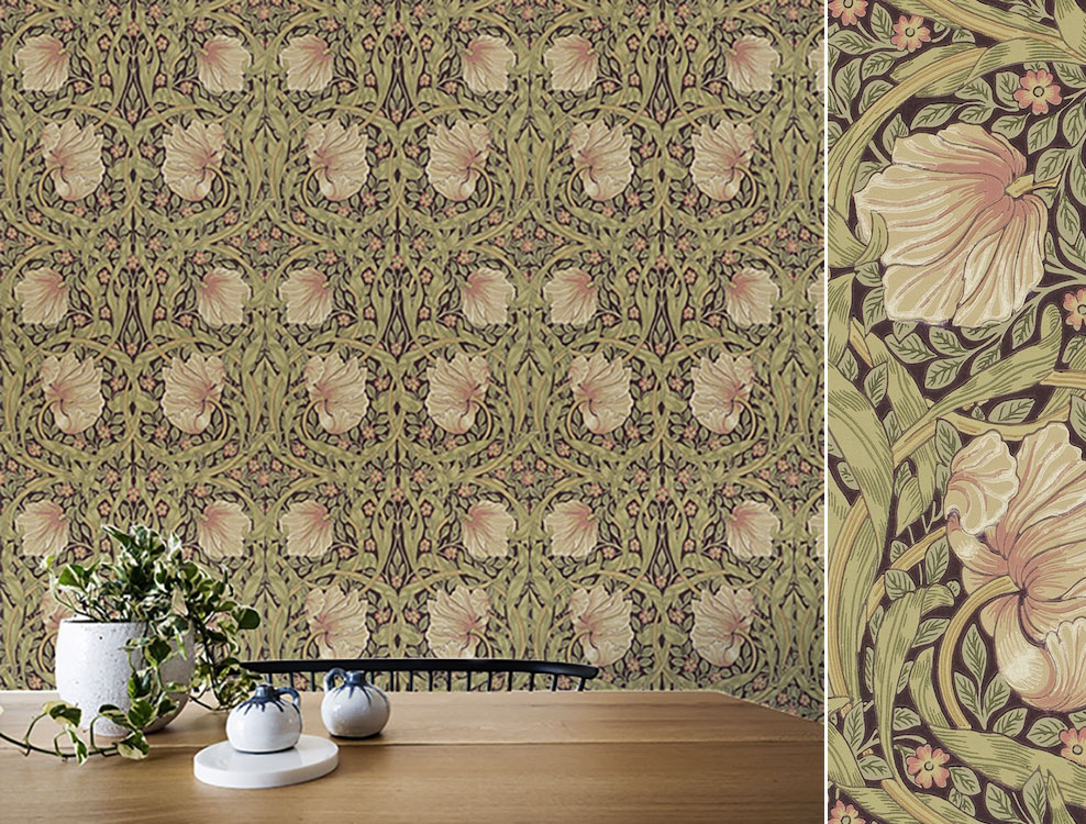 Papier peint Pimpernel, Collection The Craftsman Wallpapers de Morris & Co, Au fil des Couleurs