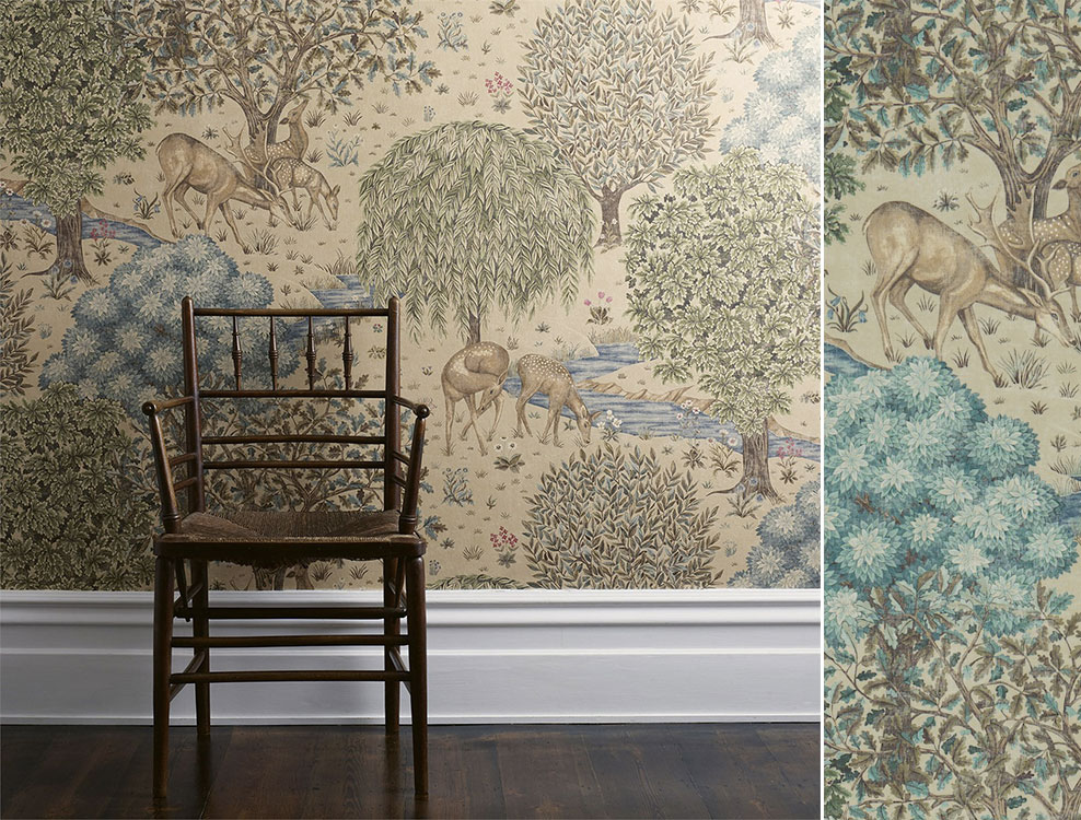 Papier peint The Brook, Collection The Craftsman Wallpapers de Morris & Co, Au fil des Couleurs