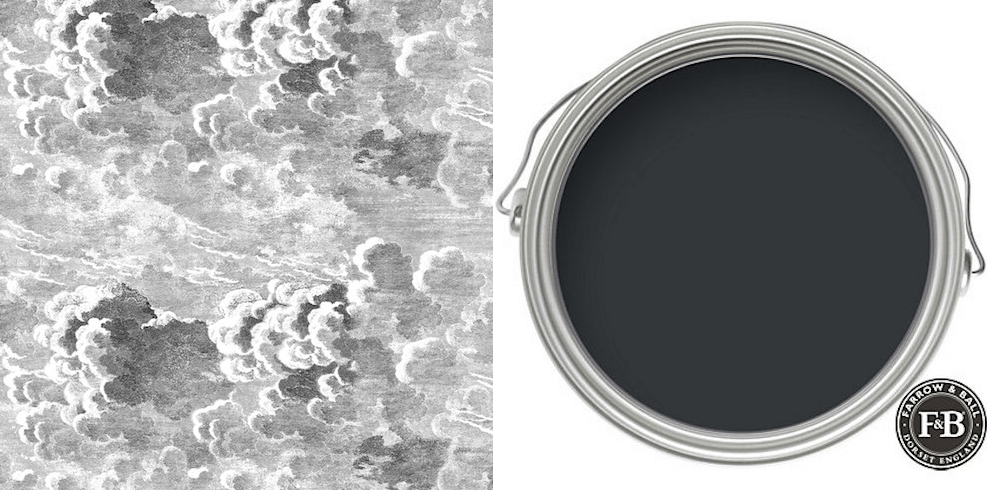 Décor panoramique Nuvole de Cole and Son associé à la peinture Off-Black de Farrow and Ball, en vente chez Au fil des Couleurs